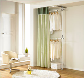 Two-level curtain clothes rack with khaki stripes (LS-3217)