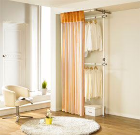 Two-level curtain clothes rack with orange stripes (LS-3224)