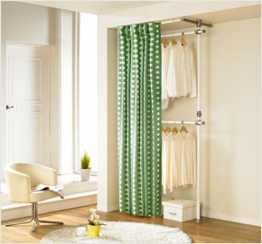 Two-level curtain clothes rack with khaki dots (LS-3248)