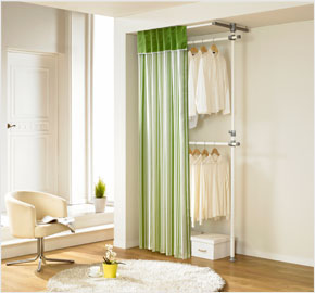 Two-level curtain clothes rack with orange stripes (LS-3262)