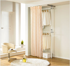 Two-level curtain clothes rack with khaki dots (LS-3309)