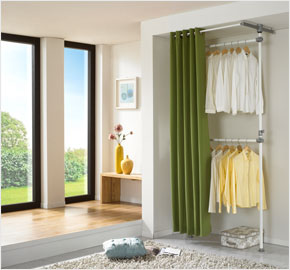 Two-level curtain clothes rack, pine green (LS-3460)