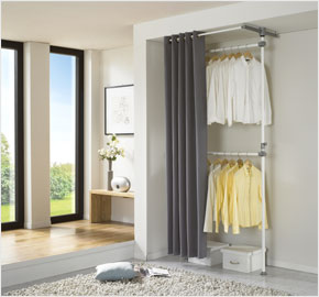 Two-level curtain clothes rack, cool gray (LS-3521)